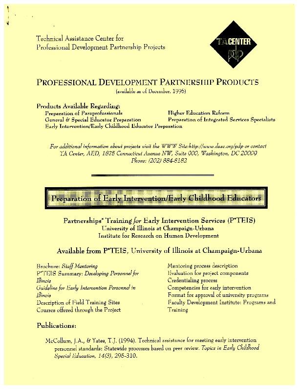 Professional Development Partenership Products