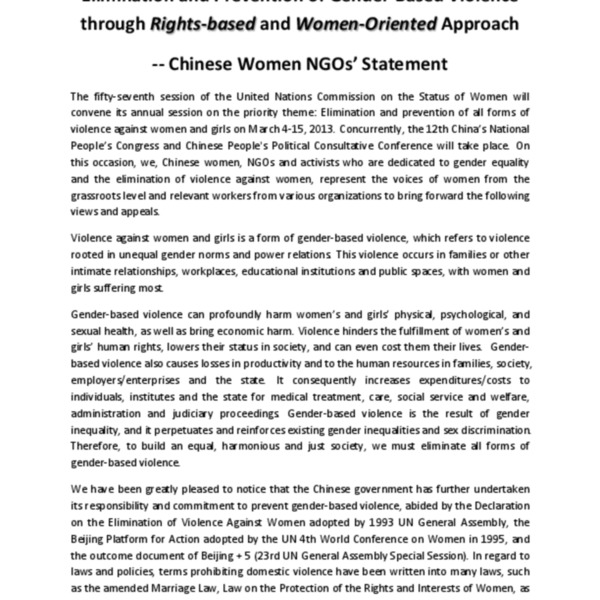 Elimination and Prevention of Gender-Based Violence through Rights-based and Women-Oriented Approach - Chinese Women NGOs' Statement