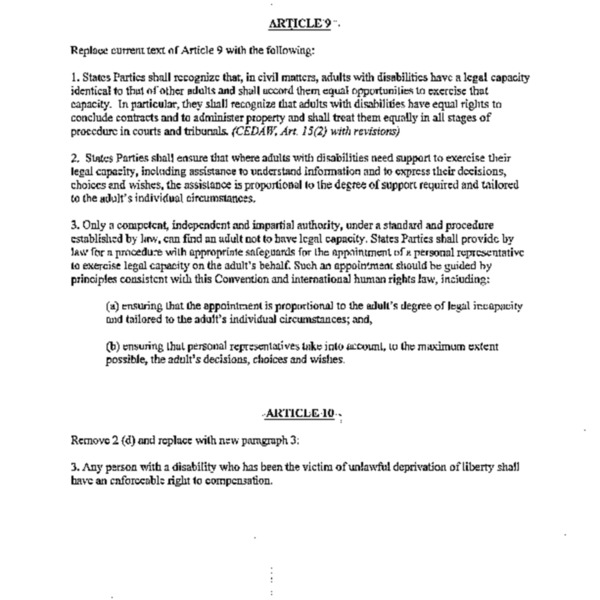 Canadian proposals for articles 9 and 10