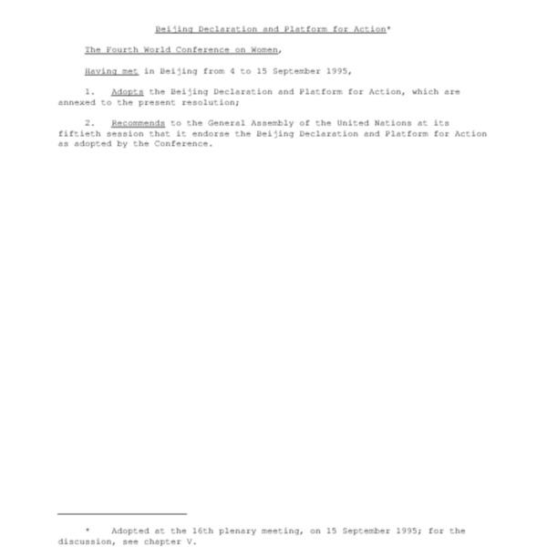 Beijing Declaration and Platform for Action