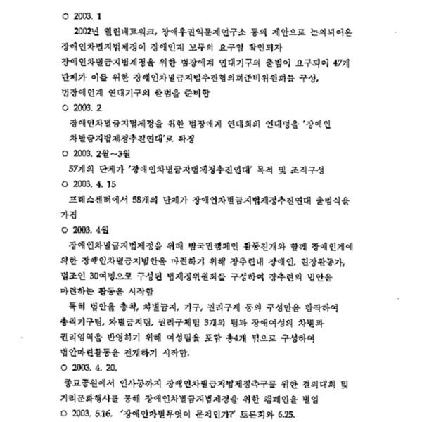 2003년 장애인차별금지법제정 추진활동 보고