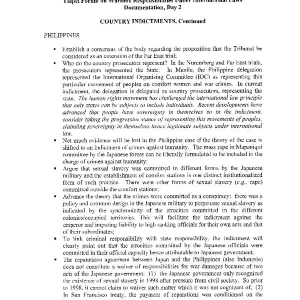 2000년일본군성노예국제여성전범법정을 준비하기 위한 국제검사단 회의와 국제법상 전시책임에 대한 포럼의 2일차 요약정리
