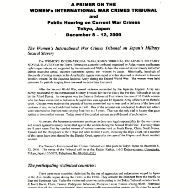 A Primer on the Women's international War Crimes Tribunal and Public Hearing on Current War Crimes