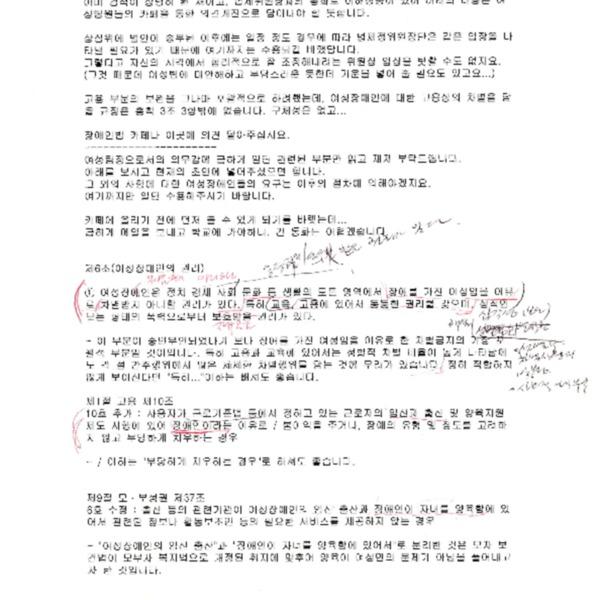 장애인차별금지추진연대 여성팀장(성명 미상)이 김광이에게 보낸 메일