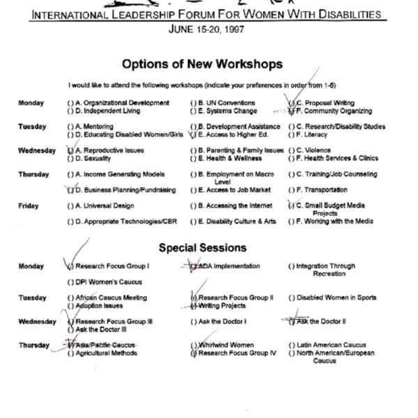 Individual workshop evaluation