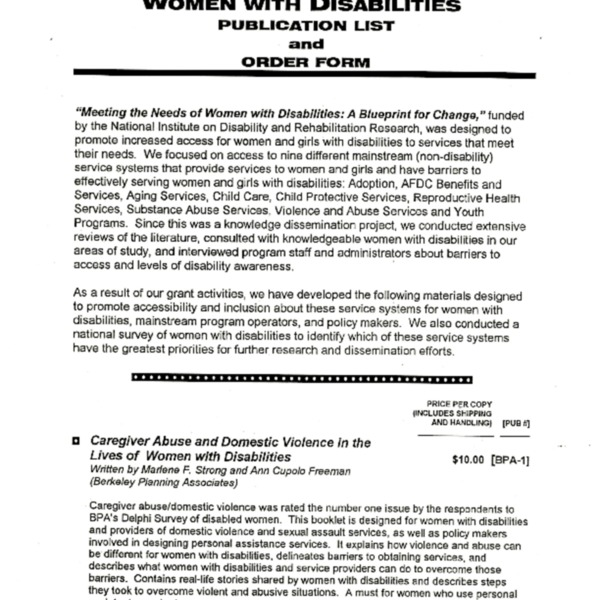 Women with Disabilites publication list and order form