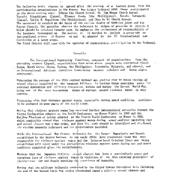 Draft Charter of Women's International War Crimes Tribunal 2000 for the Trial of Japnese Military Sexual Slavery (31 March 2000)